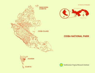 Map of Coiba National Park, Panama