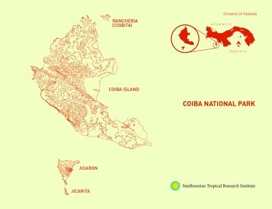 Map of Coiba National Park, Panama