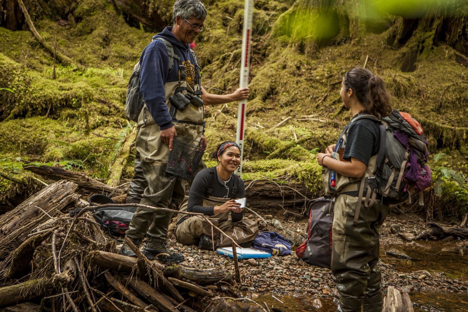 Members of the Haida tribe perform fish surveys on streams at Keat's Inlet on Prince of Wales Island. Streams that provide proof as good salmon habitat can be protected at the highest level by the state of Alaska.