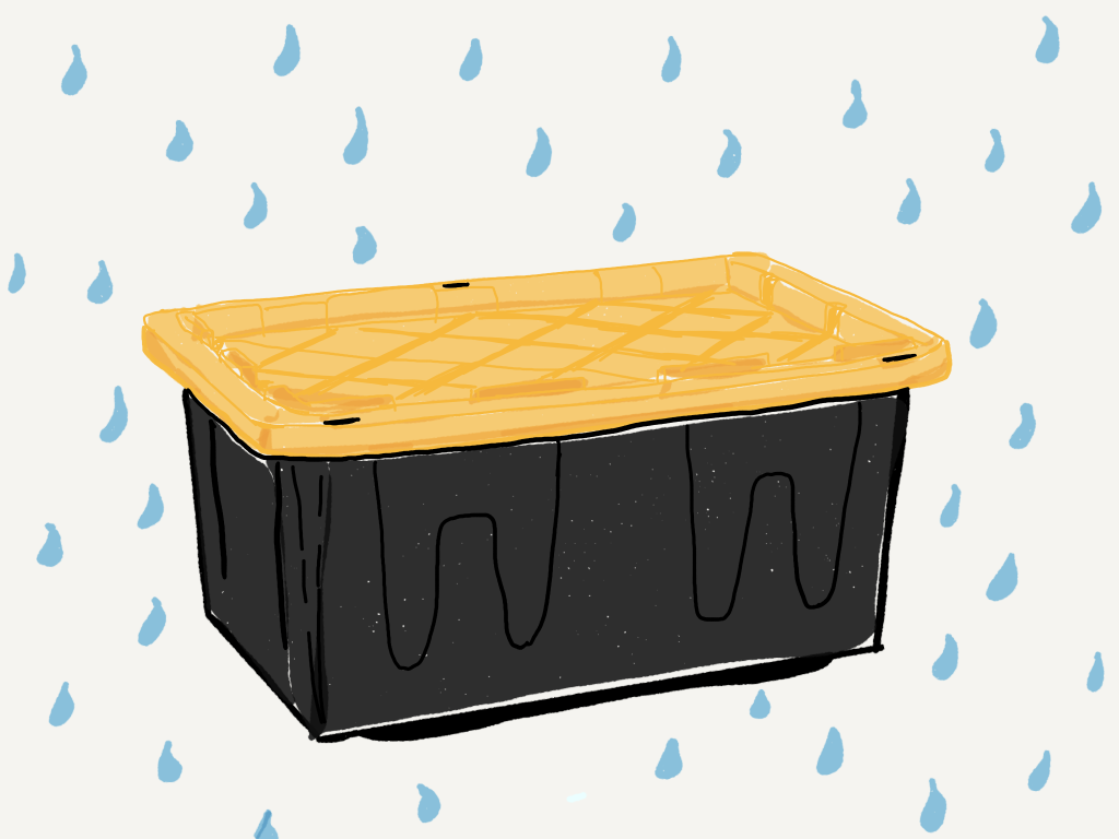 A drawing of a black heavy duty plastic storage trunk with a yellow lid surrounded by falling tear drops